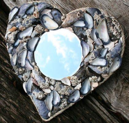 shell heart mirror