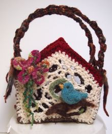Crocheted Birdhouse Basket