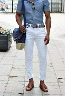 White jeans with brown shoes
