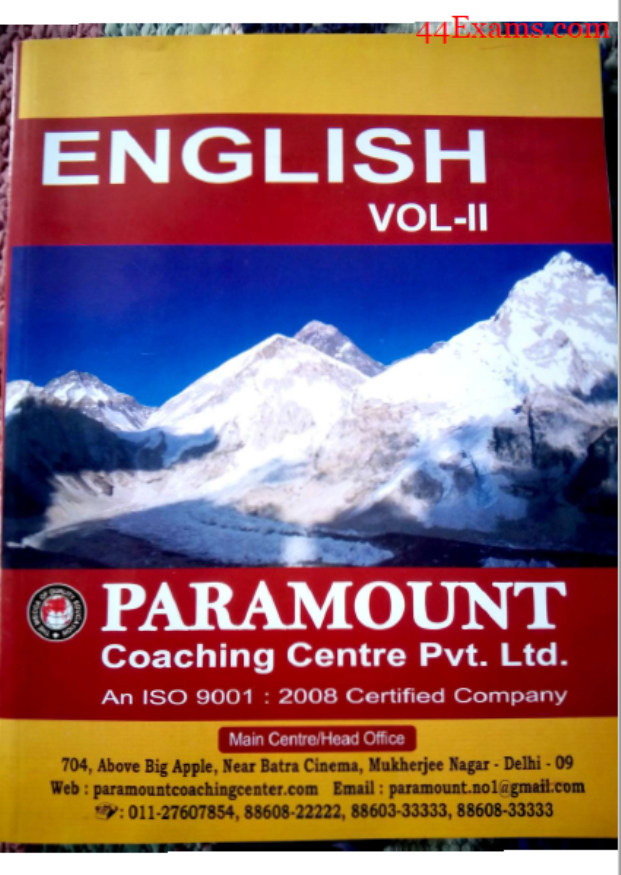 Paramount English Volume-II : For All Competitive Exam PDF Book