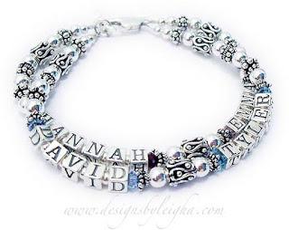 Hannah, Emma, David and Tyler Birthstone Bracelet for Mommy