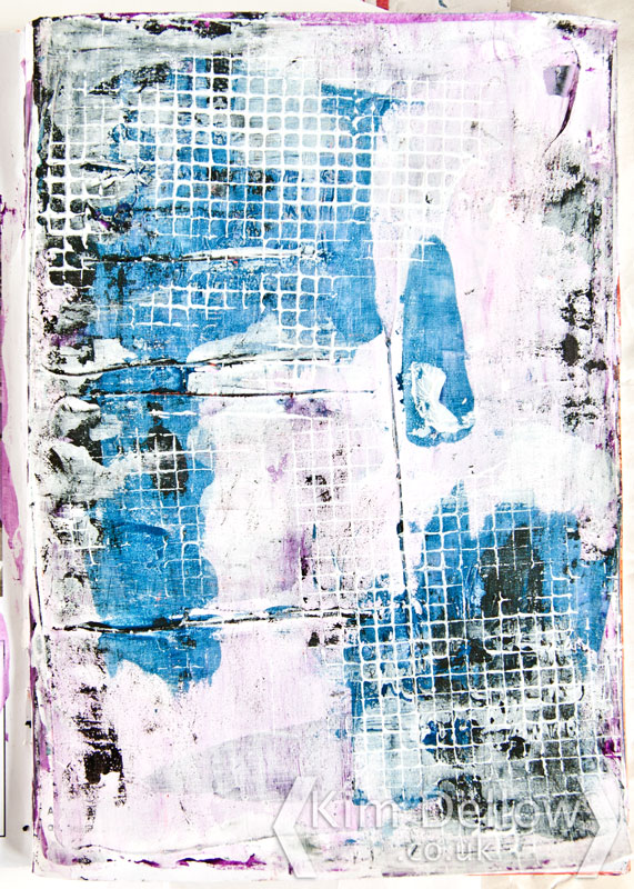 art journal page in blue and purple