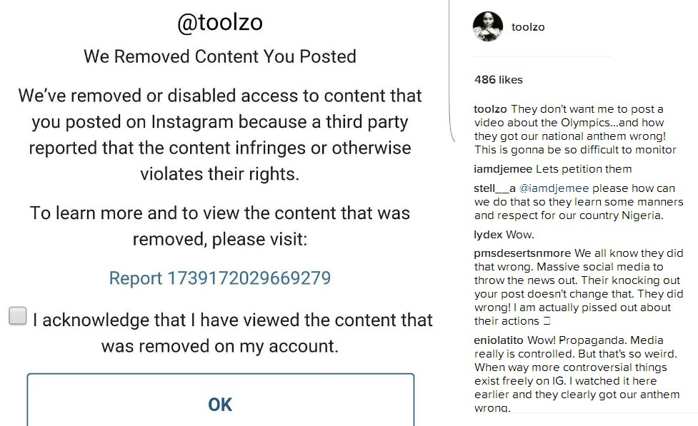 Lol. Some people reported Toolz for posting Nigeria's wrong National Anthem moment on Instagram