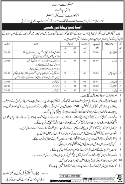Inspectorate Of Coal Mines Energy Department Jobs 2020 Government of Sindh Karachi
