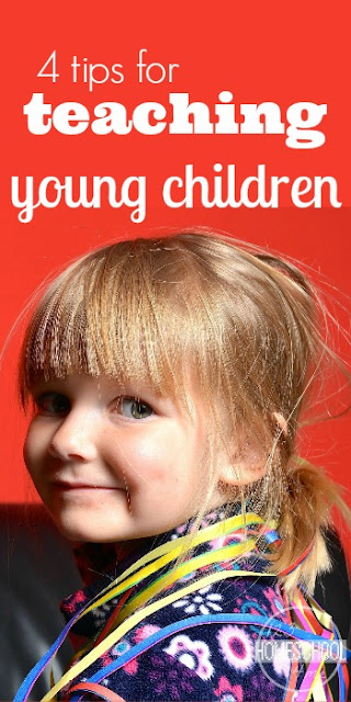 4 Tips for teaching young children - great, practical tips for teaching preschool, kindergarten, 1st grade, 2nd grade, and 3rd grade kids. Perfect for homeschool and homeschooling moms