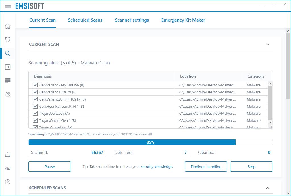 Emsisoft Anti-Malware Scanning Screenshot