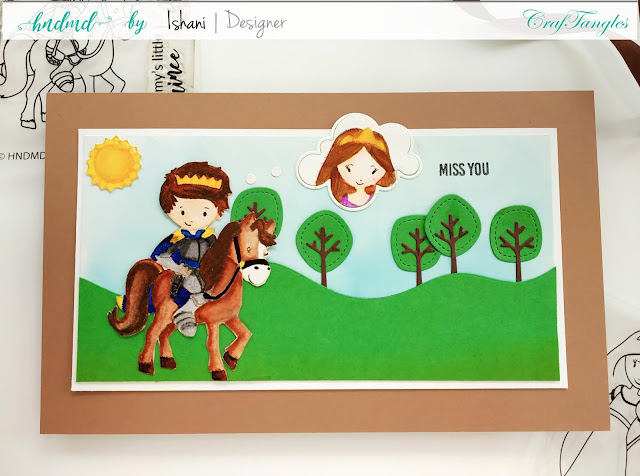 Craftangles little prince stamp, card for a boy, soldier card, Prince card, wall decor, wall art, Copic coloring hair, copic coloring Prince, Quillish, Miss you card, Craftangles Princess stamp