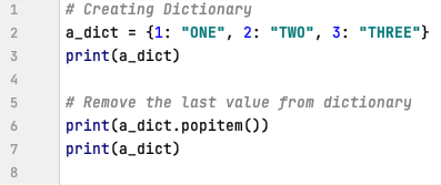 Remove last value from the Dictionary in Python