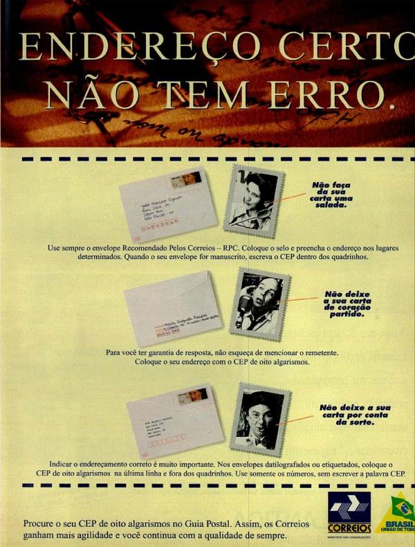 Propaganda antiga dos Correios em 1994 onde ensinava a população a forma correta de colocar as informações em um envelope