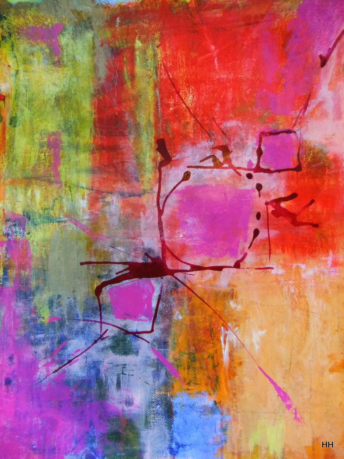 HILLARY HOSTETLER PAINTING: Mixed Media and Collage with