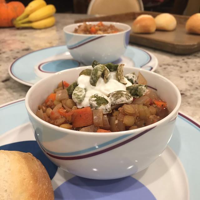 Greek-Style Lentil Soup with Crispy Olives