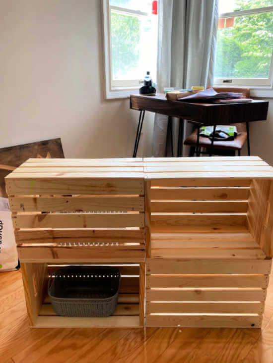 stacked wooden crates in set of 4