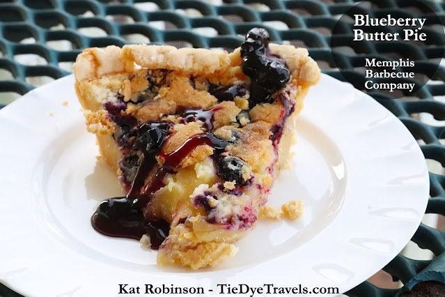 A slice of blueberry butter pie from Memphis Barbecue Company in Southaven, MS