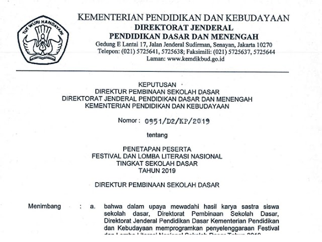 Daftar Peserta dari Jawa Barat yang Lolos Mengikuti FL2N Tingkat SD 2019