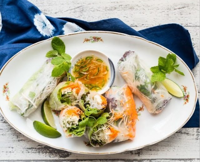 Vegan Rice Paper Summer Rolls #vegan #lunch
