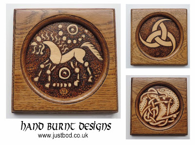 Hand burnt celtic viking and anglo saxon designs