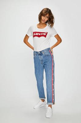 Levi's - Jeansi 501 blugi albastri cu dungi pe lateral