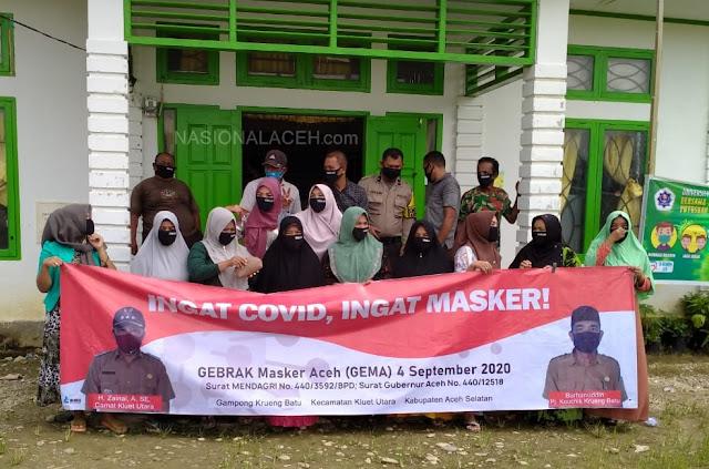 Cegah Covid-19, Pemerintah Gampong Krueng Batu Bagikan Masker ke Masyarakat