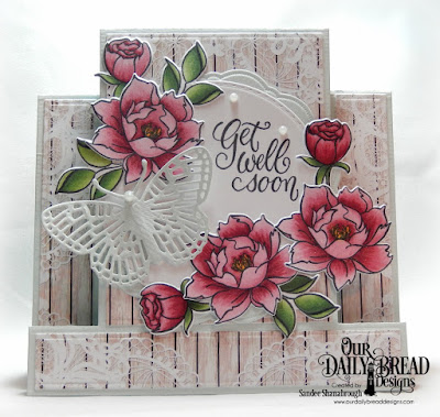 Our Daily Bread Designs Stamp/Die Duos: Hello Friend, Paper Collection: Romantic Roses, Custom Dies: Doily, Center Step Card, Center Step Layers, Doubles Stitched Circles, Fancy Fritillary