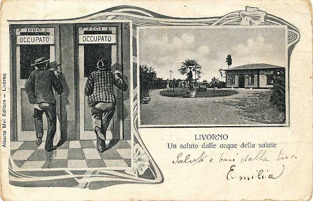 Vintage postcard of the Acque della Salute (Waters of Health) thermal baths, Livorno