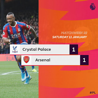 Crystal Palace 1-1 Arsenal, Aubameyang Scores And Sees Red Card (Details, Photos & Highlight)