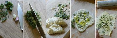 Zubereitung Pizzabrot mit Kräutern und Knoblauch