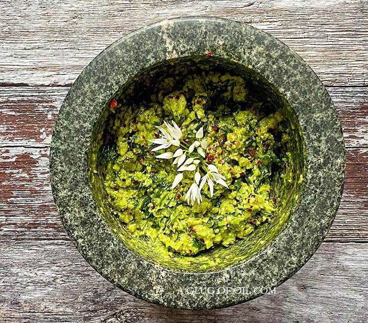 Wild garlic pesto in a pestle and mortar