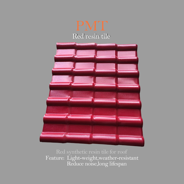 resin tile machine 1 : red plastic ASA resin tile production line picture display 1.