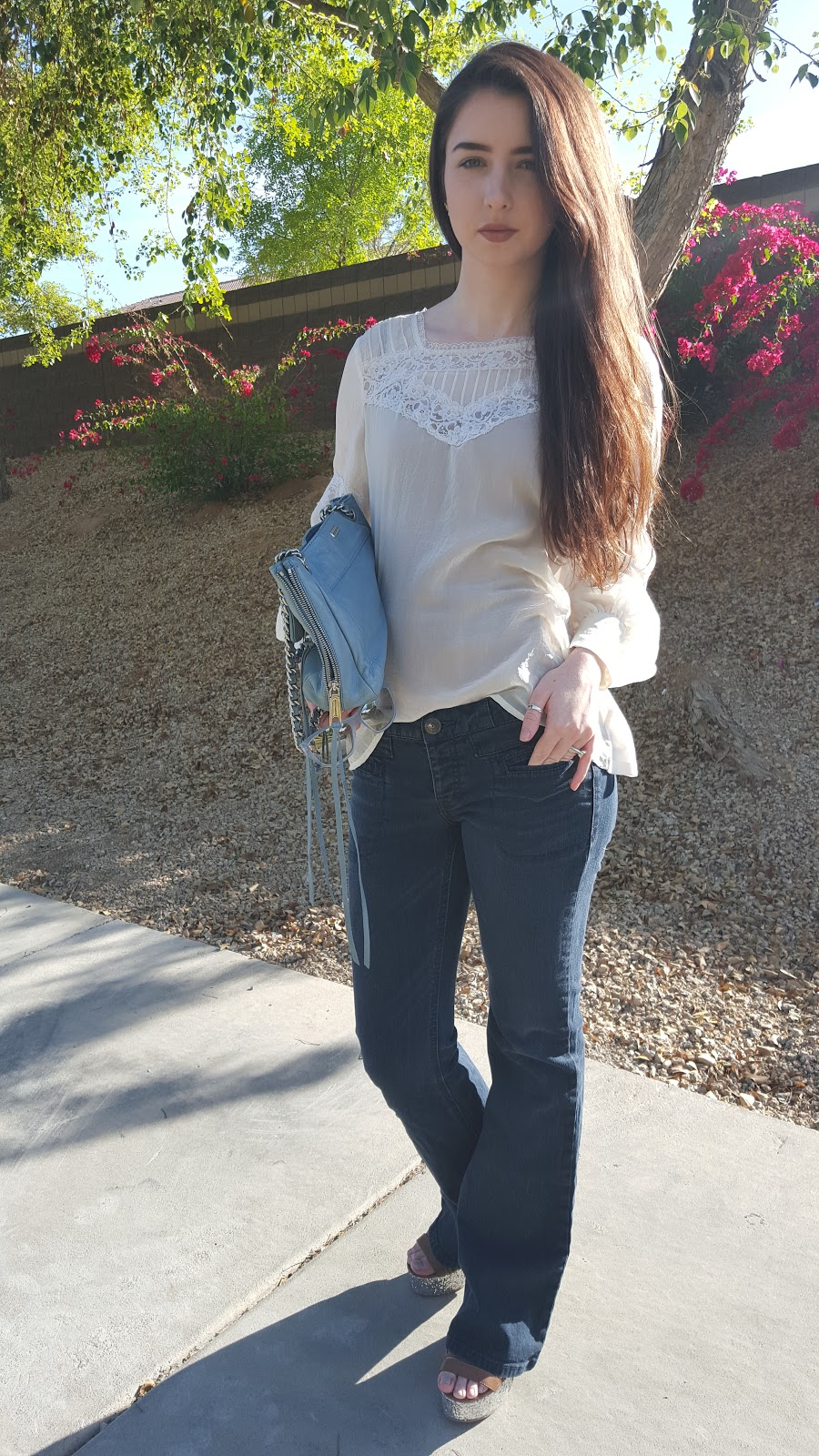Spring fashion- glam boho look with flare jeans