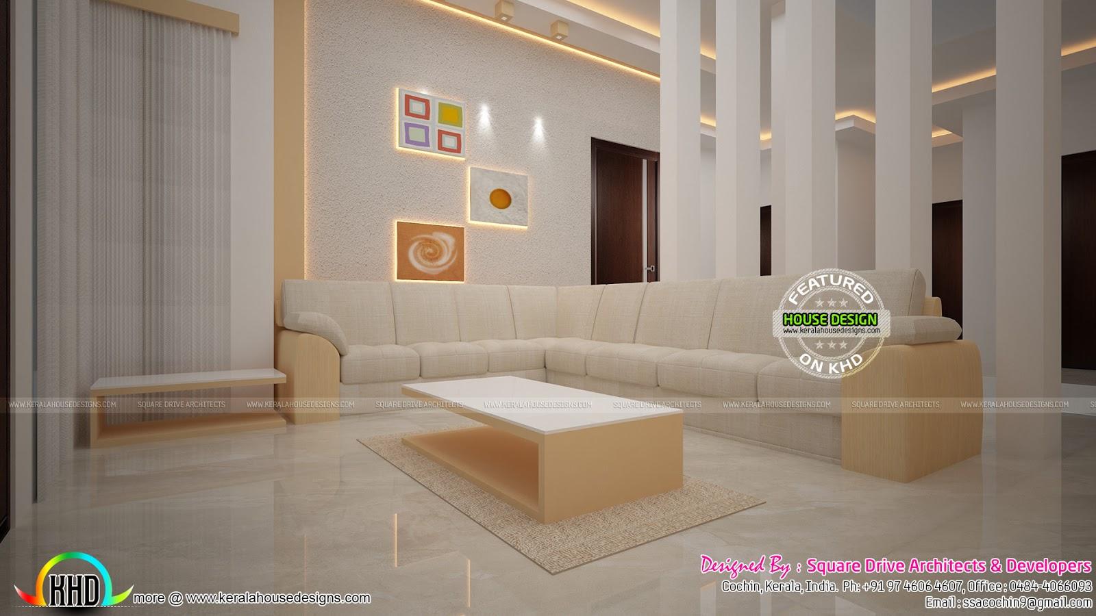 elegant interiors of living and bedroom kerala home design