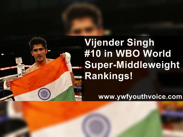 Vijender Singh in Top 10 WBO World Super-Middleweight Rankings, Vijender Singh With Indian Flag