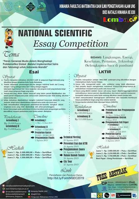 Lomba Essay & LKTIR Nasional Scientific 2019 Untuk SMA Sederajat & Mahasiswa