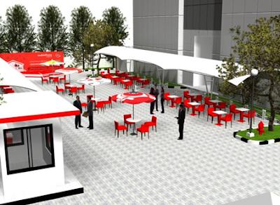 desain cafe minimalis untuk luar ruangan terbuka