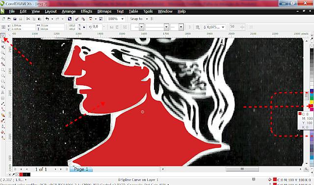 Ok aí está o nosso primeiro contorno desse trabalho com a imagem. Clique com o mouse sobre o contorno e depois com o botão esquerdo do mouse sobre a paleta de cor no vermelho para preencher.