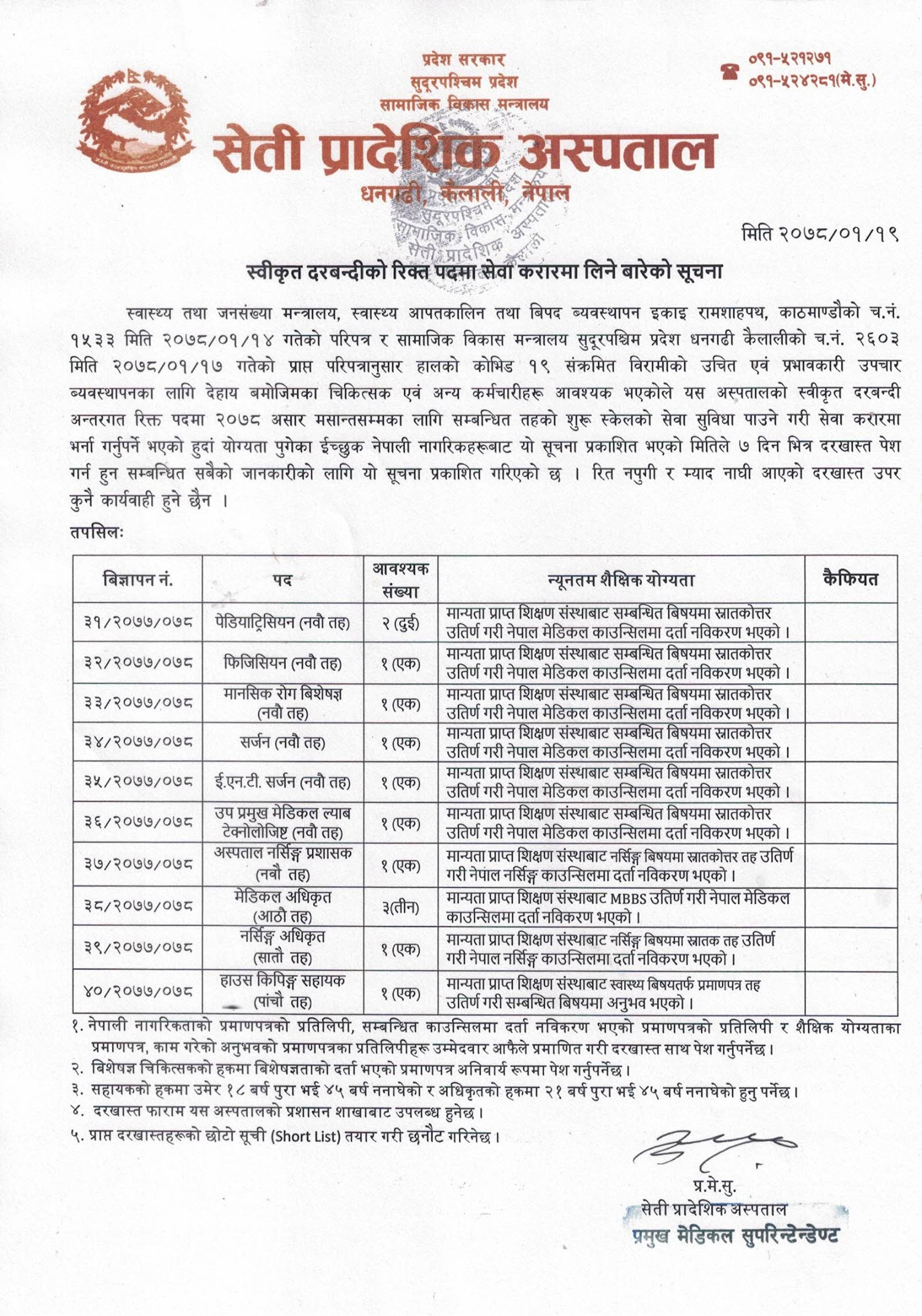 Seti Provincial Hospital Vacancy Announcement for Various Post