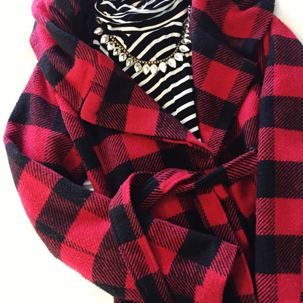 buffalo plaid coat, how to pattern mix
