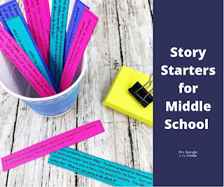 Set up a station with story starters and blank plot diagrams to encourage early finishers to write narratives in your middle school classroom!