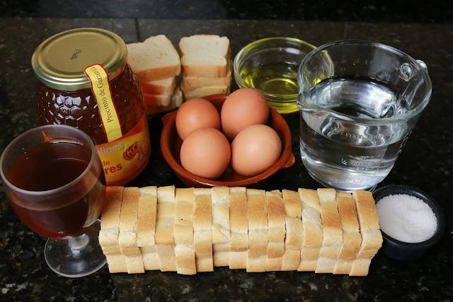 Ingredientes para torrijas de miel