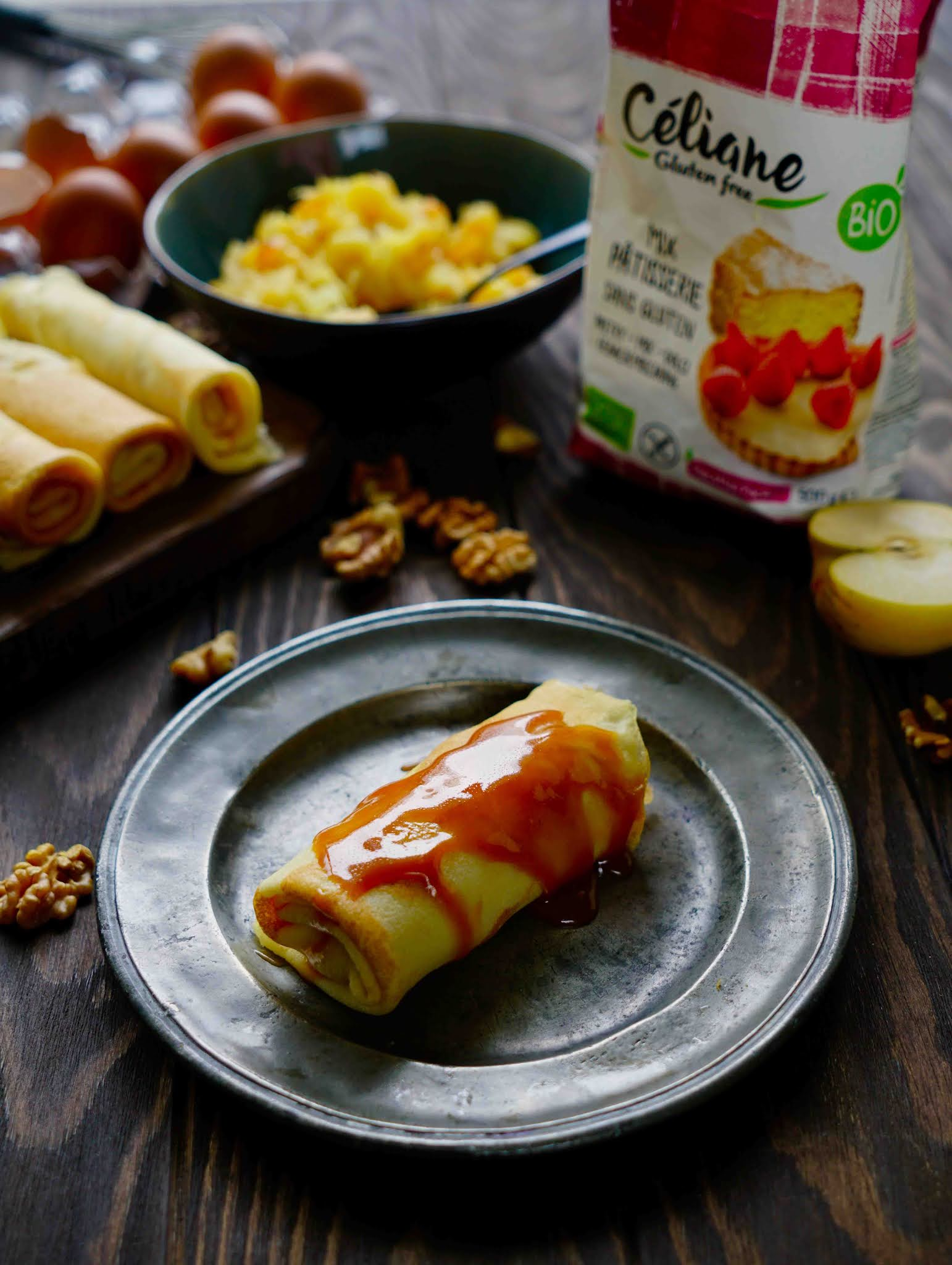 farine sans gluten , crepes au pommes caramel au beurre salé