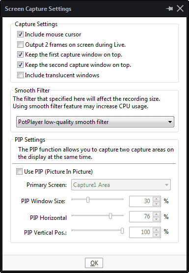 screen capture settings