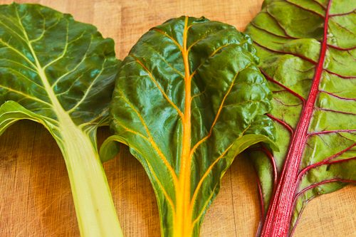 Chard leaves from Salute to Swiss Chard and 10+ Favorite Healthy Swiss Chard Recipes found on KalynsKitchen.com