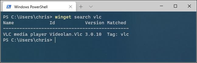 البحث عن تطبيق باستخدام Winget