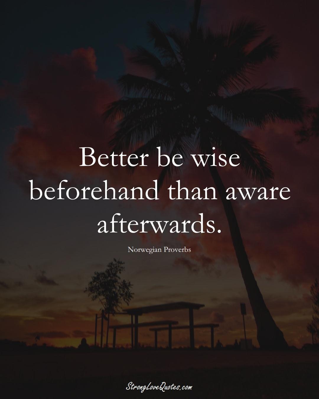 Better be wise beforehand than aware afterwards. (Norwegian Sayings);  #EuropeanSayings