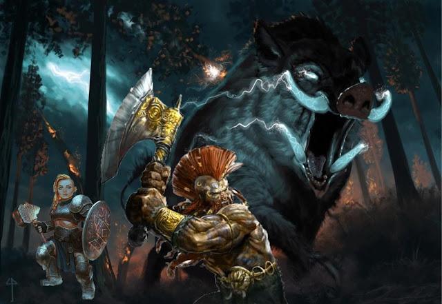 The Icehammer Dwarves face Gorthok the Thunderboar
