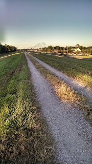 Gravel path on top of dyke in Baton Rouge