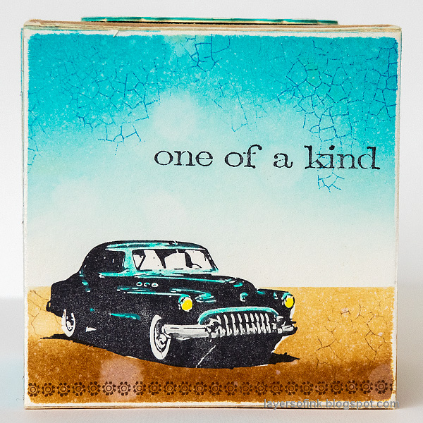 Layers of ink - Vintage Vehicles Box Tutorial by Anna-Karin Evaldsson. Vintage car stamp.