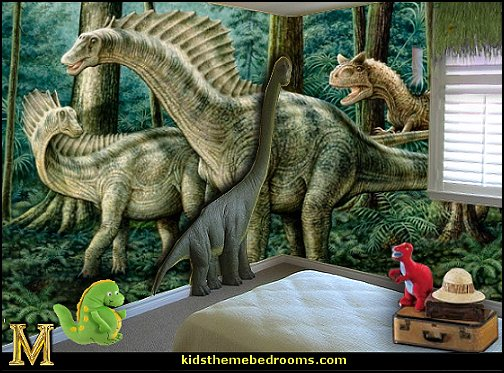 Decorating theme bedrooms maries manor dinosaur theme for Dinosaur mural ideas