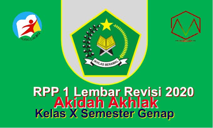 RPP 1 Lembar Akidah Akhlak Kelas X SMA/MA Semester 2 - Kurikulum 2013 Revisi 2020