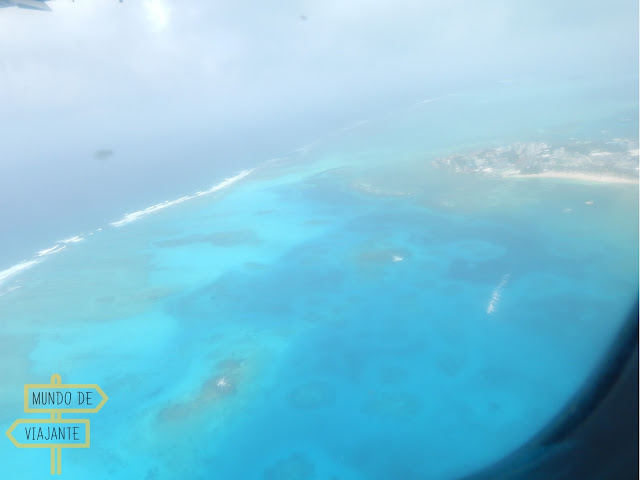 Mar de sete cores vista de avião