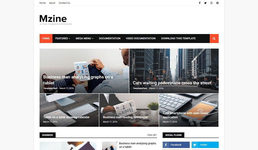 MZine News Magazine Responsive Blogger Template